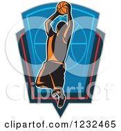 Clipart Of A Basketball Player Jumping Over A Shield Royalty Free Vector Illustration