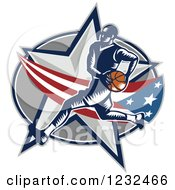 Clipart Of A Woodcut Basketball Player Over An American Swoosh And Star Royalty Free Vector Illustration