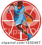 Clipart Of A Basketball Player Dribbling Over A Red Ball Royalty Free Vector Illustration