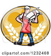 Clipart Of A Cartoon Flour Miller Worker Carrying A Sack On An Orange Wheat Oval Royalty Free Vector Illustration