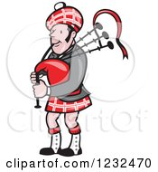 Clipart Of A Scotsman Playing The Bagpipes Royalty Free Vector Illustration #1232470 by patrimonio