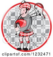 Clipart Of A Scotsman Playing The Bagpipes Over A Tartan Circle Royalty Free Vector Illustration by patrimonio