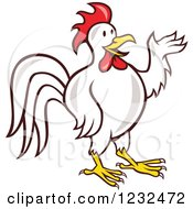 Clipart Of A Presenting White Rooster Royalty Free Vector Illustration