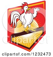 Clipart Of A Presenting White Rooster On A Shield With Sunshine Royalty Free Vector Illustration