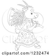 Clipart Of A Black And White Female Coat With Flowers And A Scythe Royalty Free Vector Illustration by Alex Bannykh