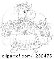 Clipart Of A Black And White Female Cow With Flowers And Milk Buckets Royalty Free Vector Illustration by Alex Bannykh