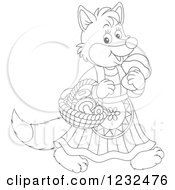 Clipart Of A Black And White Female Fox With A Basket Of Mushrooms Royalty Free Vector Illustration