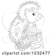Clipart Of A Black And White Female Hedgehog With A Basket Of Mushrooms Royalty Free Vector Illustration
