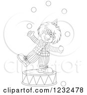 Clipart Of A Black And White Circus Clown Juggling On A Podium Royalty Free Vector Illustration by Alex Bannykh