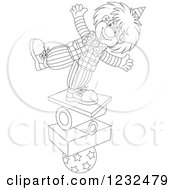 Clipart Of A Black And White Circus Clown Balancing On Stacked Items Royalty Free Vector Illustration by Alex Bannykh