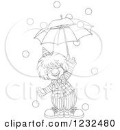 Clipart Of A Black And White Circus Clown With An Umbrella And Falling Balls Royalty Free Vector Illustration by Alex Bannykh