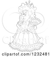 Clipart Of A Black And White Queen With A Hand Fan Royalty Free Vector Illustration by Alex Bannykh