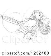Clipart Of A Black And White Crow With A Bowl Royalty Free Vector Illustration by Alex Bannykh