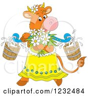 Female Cow With Flowers And Milk Buckets