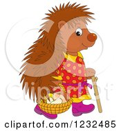 Clipart Of A Female Hedgehog With A Basket Of Mushrooms Royalty Free Vector Illustration