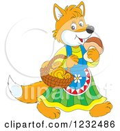 Clipart Of A Female Fox With A Basket Of Mushrooms Royalty Free Vector Illustration by Alex Bannykh
