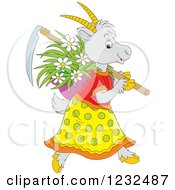 Clipart Of A Female Coat With Flowers And A Scythe Royalty Free Vector Illustration