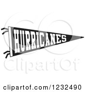 Black And White HURRICANES Team Pennant Flag