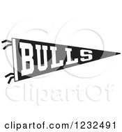 Clipart Of A Black And White BULLS Team Pennant Flag Royalty Free Vector Illustration