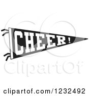 Black And White CHEER Team Pennant Flag