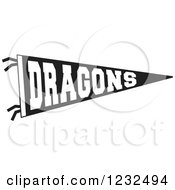 Black And White DRAGONS Team Pennant Flag