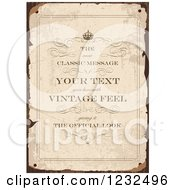 Clipart Of A Worn Parchment Invitation With Sample Text Royalty Free Vector Illustration