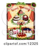 Clay Sculpture Clipart Treat Yourself Dessert Stand Royalty Free 3d Illustration