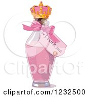 Clipart Of A Drink Me Tag On A Pink Bottle In Wonderland Royalty Free Vector Illustration