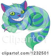 Clipart Of The Cheshire Cat With Green And Blue Stripes Royalty Free Vector Illustration