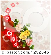 Clipart Of A Valentine Background With Roses Foliage And Hearts 2 Royalty Free Vector Illustration