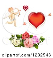 Clipart Of A Valentine Cupid Heart And Roses Royalty Free Vector Illustration by merlinul