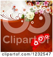 Clipart Of A Valentine Background With Foliage Roses Hearts And A Butterfly Royalty Free Vector Illustration