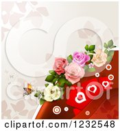 Clipart Of A Valentine Background With Foliage Roses Hearts And A Butterfly 2 Royalty Free Vector Illustration