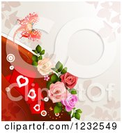 Clipart Of A Valentine Background With Foliage Roses Hearts And A Butterfly 3 Royalty Free Vector Illustration