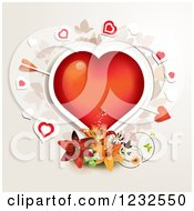 Clipart Of A Red Valentine Heart With Cupids Arrow Over Lilies And Foliage Royalty Free Vector Illustration