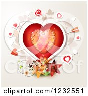 Clipart Of A Dewy Valentine Heart With Cupids Arrow Over Lilies And Foliage Royalty Free Vector Illustration