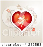 Clipart Of A Valentine Heart With Cupid Over Foliage Royalty Free Vector Illustration by merlinul