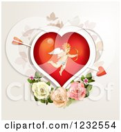 Clipart Of A Valentine Heart With Cupid Over Roses And Foliage Royalty Free Vector Illustration