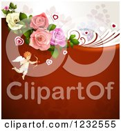 Clipart Of A Valentine Background With Foliage Roses And Cupid 2 Royalty Free Vector Illustration