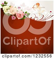 Clipart Of A Valentine Background With Foliage Roses And Cupid Royalty Free Vector Illustration