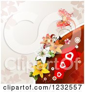Clipart Of A Valentine Background With A Butterfly Lilies Foliage And Hearts Royalty Free Vector Illustration
