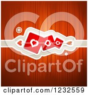 Clipart Of A Red Valentine Background With Cupids Arrow Through Heart Cards Royalty Free Vector Illustration