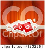 Clipart Of A Red Valentine Background With Cupids Arrow Through Heart Cards 2 Royalty Free Vector Illustration