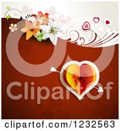 Clipart Of A Valentine Background With A Butterfly Heart And Lilies Royalty Free Vector Illustration