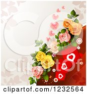 Clipart Of A Valentine Background With Foliage Hearts Roses And Butterflies Royalty Free Vector Illustration