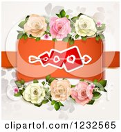 Clipart Of A Valentine Background With Roses Foliage And Hearts 3 Royalty Free Vector Illustration