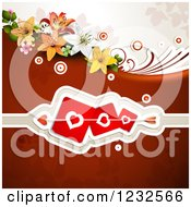 Clipart Of A Valentine Background With Lilies Foliage And Hearts 2 Royalty Free Vector Illustration