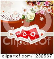 Clipart Of A Valentine Background With Flowers Roses And Hearts Royalty Free Vector Illustration