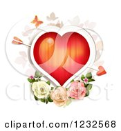 Clipart Of A Red Valentine Heart With Cupids Arrow Over Roses And Foliage Royalty Free Vector Illustration