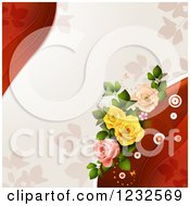 Clipart Of A Valentine Background With Foliage And Roses Royalty Free Vector Illustration
